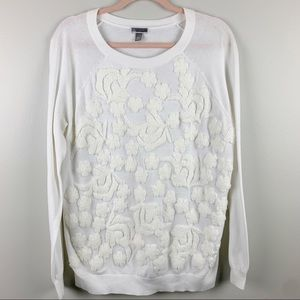 Chelsea28 Floral Embroidered Sweater White Size L